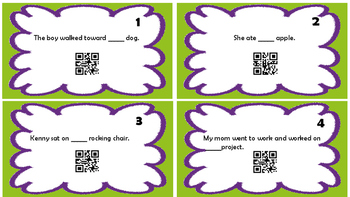 A vs AN Task Cards with QR Scan Codes