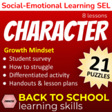 BACK TO SCHOOL Learning Skills: Character Building GROWTH MINDSET Lessons