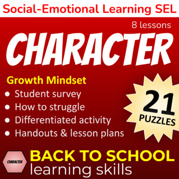 Character Building GROWTH MINDSET Back to School Learning Google Classroom