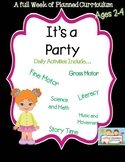 A week of party themed lesson plans