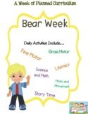 Preschool Lesson Plan Ideas for Bears with Daily Preschool Activites