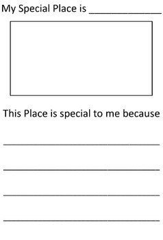 A worksheet for students to discuss a place special to them.