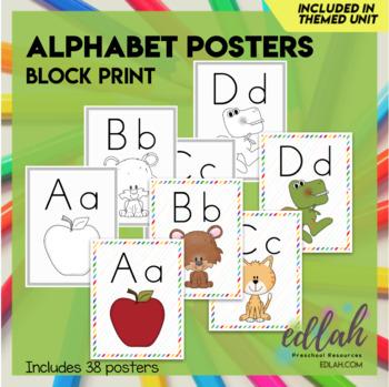 """A-Z Alphabet Posters Block Print 8.5""""x11"""""""