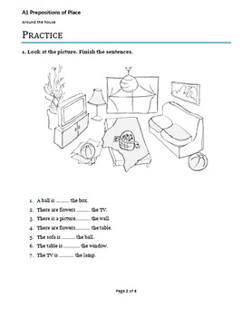 A1 Beginner ESL/ EFL lesson plan - Prepositions of Place - Around the house
