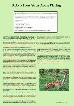 A1 classroom poster – Analysis of Robert Frost, 'After Apple Picking