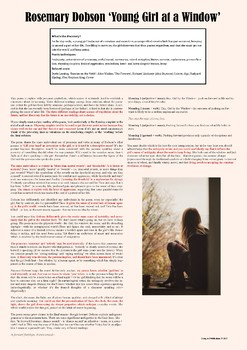 A1 classroom poster – Analysis of Rosemary Dobson, 'Young Girl at a Window'