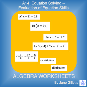 A14 Evaluation of Equation Skills