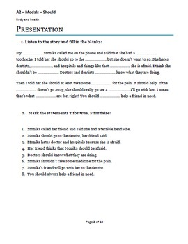 A2 Lower Intermediate ESL lesson plan - Modals (Should) - Body and Health
