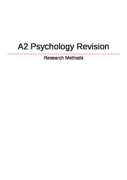 A2 Psychology Revision - Research Methods
