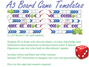 Blank Board Game Templates Teaching Resources Teachers Pay Teachers - Powerpoint board game template