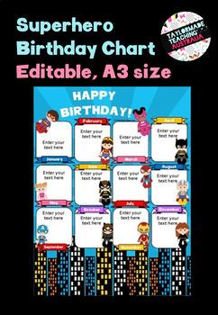 A3 Birthday Chart - Superheroes (Editable)