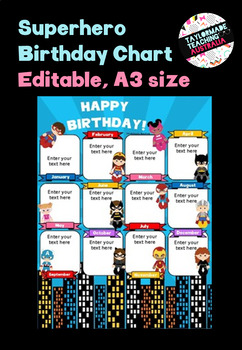 A3 Birthday Chart - Superheroes (Editable)