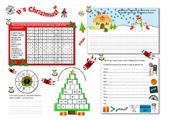 A3 Christmas literacy and numeracy activity worksheet