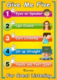 A3 Listening Poster - Give Me 5 for Great Listening