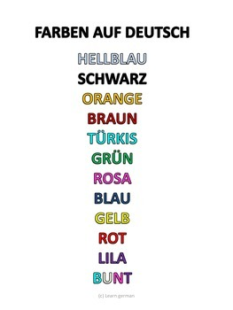 a3 posters german colours by learn german and french tpt
