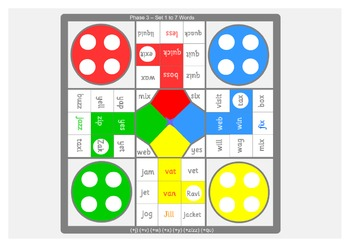 A3 size phonics (Letters and Sounds) board games . 6 phase 3 boards.