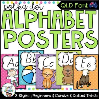 QLD Beginners Font Alphabet Posters {Polka Dot}