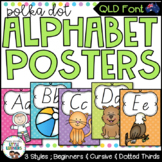 QLD Beginners Font Alphabet Posters {Polka Dot}