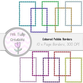 A4 Clip Art Page Borders, Coloured Pebble x 10 - White Transparent