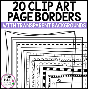 A4 Clip Art Page Borders x 8- White and Transparent