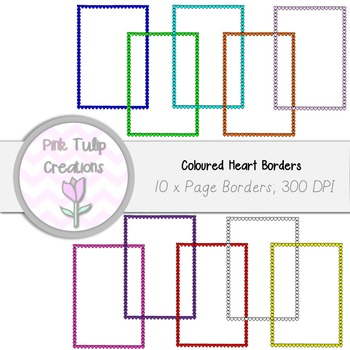 A4 Clip Art Page Coloured Heart Valentines Borders x 10 -