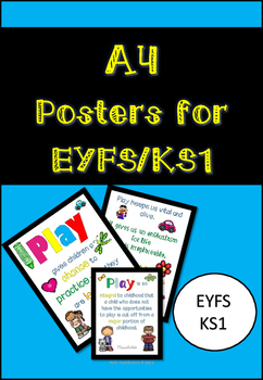 A4 Learning through Play Posters for Early Years classrooms