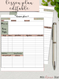 A4 Lesson Plan template Editable