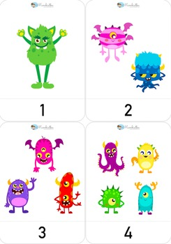 A4 Number flash cards with monsters - 1 to 12