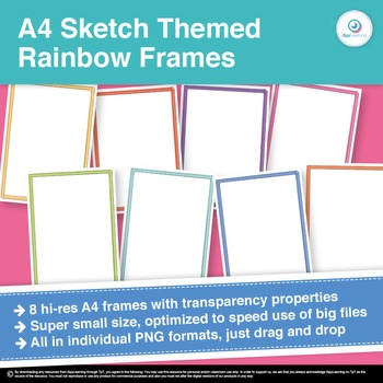 FREEBIE A4 Sketched Themed Rainbow Frames Borders