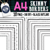 A4 Skinny Borders | 20 Page Frames Clipart
