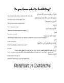 A4 sized poster Backbiting vs Slandering