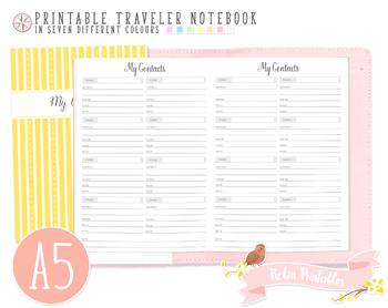 A5 My Contacts List Traveler Notebook Refill