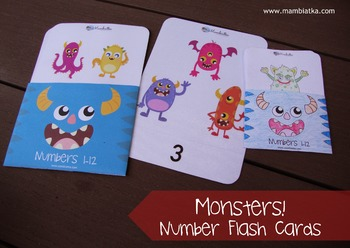 A5 Number flash cards with monsters - 1 to 12