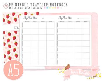 A5 Weekly Meal Plan Traveler Notebook Refill