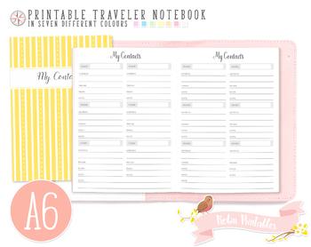 A6 My Contacts List Traveler Notebook Refill