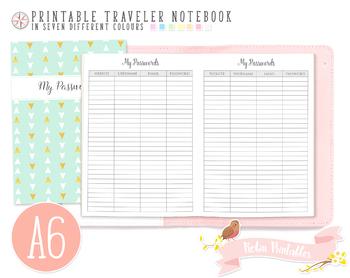 A6 Password Log Traveler Notebook Refill