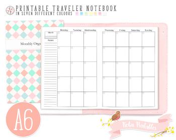 A6 Regular Monthly Organizer Traveler Notebook Refill