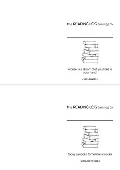 A6 Sized Reading Booklet/Log