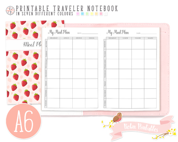 A6 Weekly Meal Plan Traveler Notebook Refill