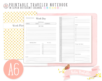 A6 Work Day Traveler Notebook Refill