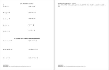 A7a Mixed Early Equations