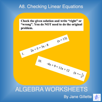 A8. Checking Equations