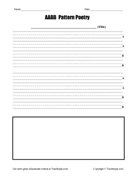 AA BB Poetry Pattern Template for Primary Grades