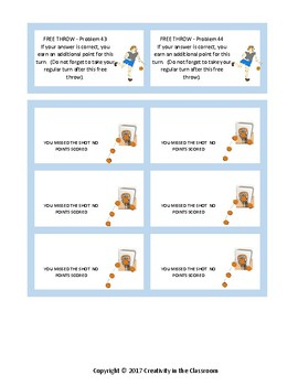 Math Basketball Game - Addition and Subtraction - Up to 4 Digits