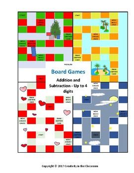 Math Board Games -- Addition and Subtraction - Up to 4 Digits
