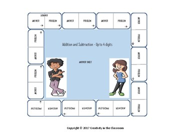 Math Cut and Paste Activity - Addition and Subtraction - Up to 4 Digits