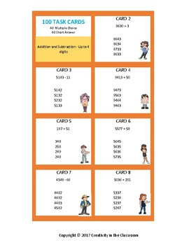 Math Task Cards - Addition and Subtraction - Up to 4 Digits