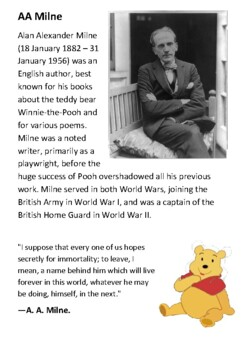 AA Milne and Winnie the Pooh Handout