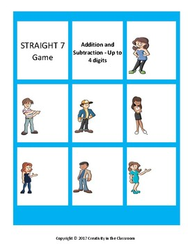 Straight 7 Math Game -  Addition and Subtraction - Up to 4 Digits