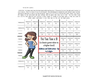 Tic Tac Toe x 9 Math Game - Addition and Subtraction - Up to 4 Digits